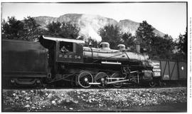 2-8-0, Consolidation no. 54, right side, almost broadside, closeup, good detail, part of tender s...