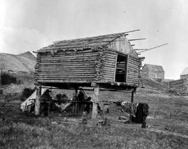 A log cabin on stilts.
