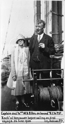 """Captain and Mrs. W.H. Gillen on board R.C.M.P. St. Roch at Vancouver before sailing on firs..."