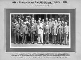 """1878 - Commemorating B & K Golden Anniversary  - 1928; third annual staff conference, Western Canada Flour Mills Co. Ltd., The Brackman-Ker Milling Co. Ltd., held at Empress Hot"