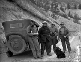 Martin Ramsey, Captain Jones, T. Hodgson, and George Powers at Sheep Creek Hill.