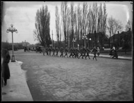 Soldiers march on Government Street, Victoria