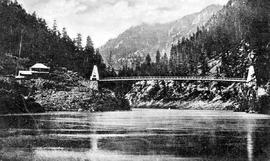 The first bridge built in BC by J. Trutch; Fraser River, just above Yale