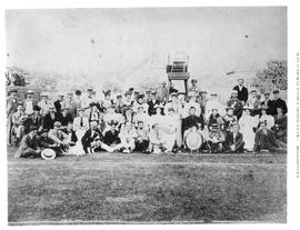 Members of the Victoria Lawn Tennis Club at a tournament.