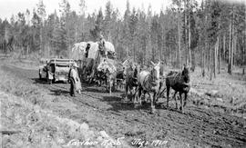 An early automobile being passed by a freight team on the Cariboo Road.
