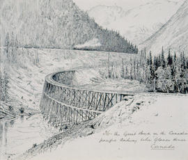 The Great Bend On The Canadian Pacific Railway Below Glacier House, Canada.
