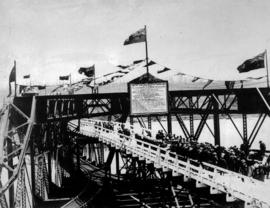 """1902 The New Westminster Bridge 1904...""; opening of the Fraser River Bridge."