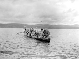 Group in canoe on Fraser Lake.