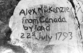 Inscription by Sir Alexander Mackenzie on a rock in Dean Channel, near Bella Coola.