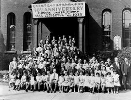 Group in front of Victoria Chinese United Church on the occasion of its 50th anniversary (1885-19...