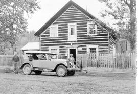Cottonwood House, John Boyd at left, and J. Lazzarin outside the house on the Quesnel Barkerville Road.