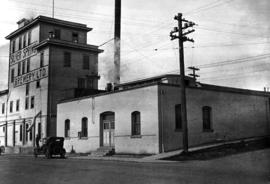 Exterior view of Silver Spring Brewery Ltd., Esquimalt Road at Catherine Street, Victoria