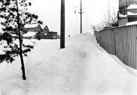 A snow drift at the corner of Blanshard Street and Burdett Avenue; looking north on Blanshard Str...