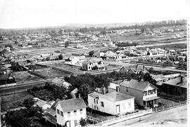 Victoria from Church Hill, Rae Street at bottom, Yates furthest from camera; Quadra Street Cemetery at right; see A-3419, A-3422, A-3423, A-03424, A-3425, A-3426, A-3427, A-3428.