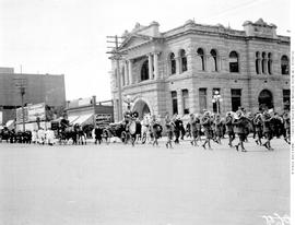 Chinese funeral at the corner of Yates and Blanshard Streets by the Victoria Public Library, Carn...
