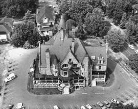 Craigdarroch Castle from the air; box 89-0805-003.
