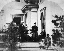 Sir Joseph Trutch and family at Fairfield House; l to r, J. W. Trutch; Mrs. Peter O'Reilly,  with Kathleen O'Reilly, Mrs. J. W. Trutch, Mrs. William Trutch [mother] , Frank O'Reilly
