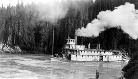 SS BC Express On The Nechako River; Note The Photographer On The Riverbank.