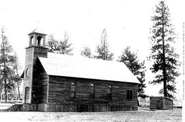 Roman Catholic church in Merritt; built in 1900, land donated by pioneer Jesus Garcia, bell for t...