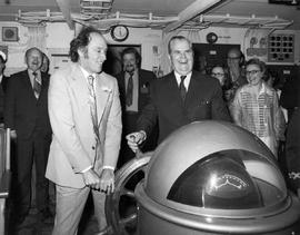 Prime Minister Pierre Elliot Trudeau and Premier W.A.C. Bennett on the bridge of a BC ferry.