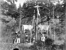 Copper kettle, quite new with a hole through it.  Horse skins for the life eternal.  Horse skin for the happy hunting grounds.  No white men There!!!!!!  Indian Chiefs grave near Lytton.  Fraser R.