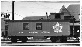Canadian National Railway Caboose U. 76884, at Canadian Pacific Station, New Westminster.