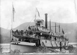 """SS Rossland"" at the sternwheeler landing on the Columbia River in Trail."