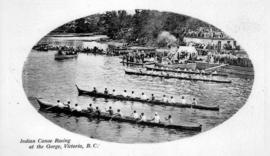 """Indian canoe racing at the Gorge, Victoria BC."""