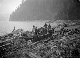 "Building the hand made boat, the ""Bill Wheatley"" on Daisy Lake, Garibaldi; box 36."
