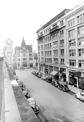 South side of the Royal Bank Union Building, View Street; Bank of Montreal at the foot of View at...