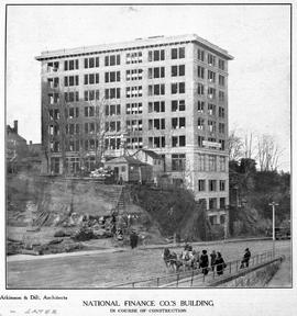 """National Finance Co.'s Building, in course of construction""; Vancouver."