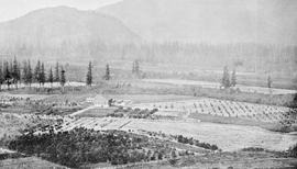 """General view of the experimental farm at Agassiz, British Columbia, from the mountain."""