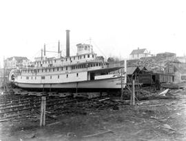 The SS Rossland Being Rebuilt At Nakusp