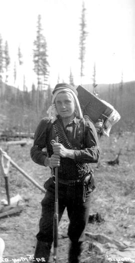Frank Swannell backpacking near the Moyie River.