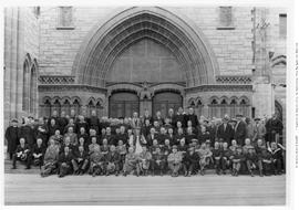 Anglican synod on the steps of Christ Church Cathedral, Victoria; Anglican Bishop Charles de Vebe...