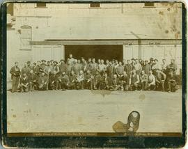 Group of workmen, Pilot Bay, B.C., smelter