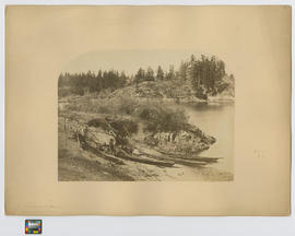 An Indian encampment Esquimalt Harbour  [On reverse]:  Indians encamped in a small cove, showing the rush mat habitation, mode of drying herrings, Chinook-shaped canoes, by the landing stage Esquimalt harbour, Vancouver Island.