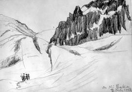 On Mount Baker [showing figures in snow by rocky cliffs]
