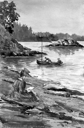 [Woman Sketching Or Reading Along Rocky Shore And Two Figures In Boat On Water]