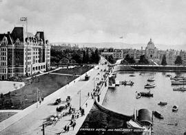 Empress Hotel and Legislative Buildings on Victoria's Inner Harbour.