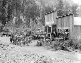 Group outside the J.A. Schubert General Merchandise store at Hedley
