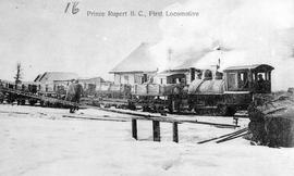 """First locomotive, Prince Rupert, BC""."