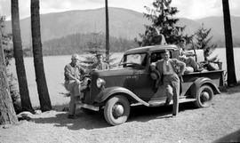 Swannell, Mackenzie, Friker, Forrest, and Speeder at Lake Logging Company at Cowichan Lake.