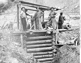 The Sheepshead shaft, Williams Creek, Cariboo.  McLerhanie [left,centre, unidentified], Hance (Ge...