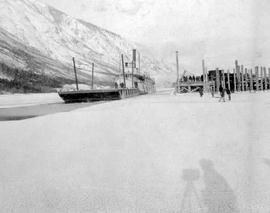 The SS Kokanee At Nelson Breaking Up The Ice With A Barge