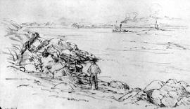 [Tugboat Seen From Rocky Shore With Rowboat And Figure]