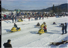 Winter carnival, 100 Mile House; snowmobiling.
