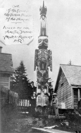 """One of the famous totem poles of the north; issued by the Arctic Studio, Prince Rupert"""