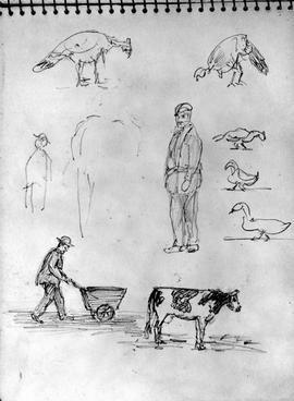 [Various Figures - Cow, Man With Cart, Standing Man, Barnyard Fowl]
