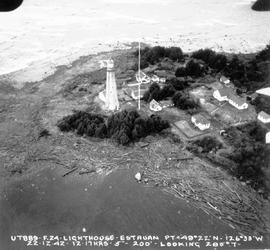 Aerial view of Estevan Point Lighthouse and wireless station.